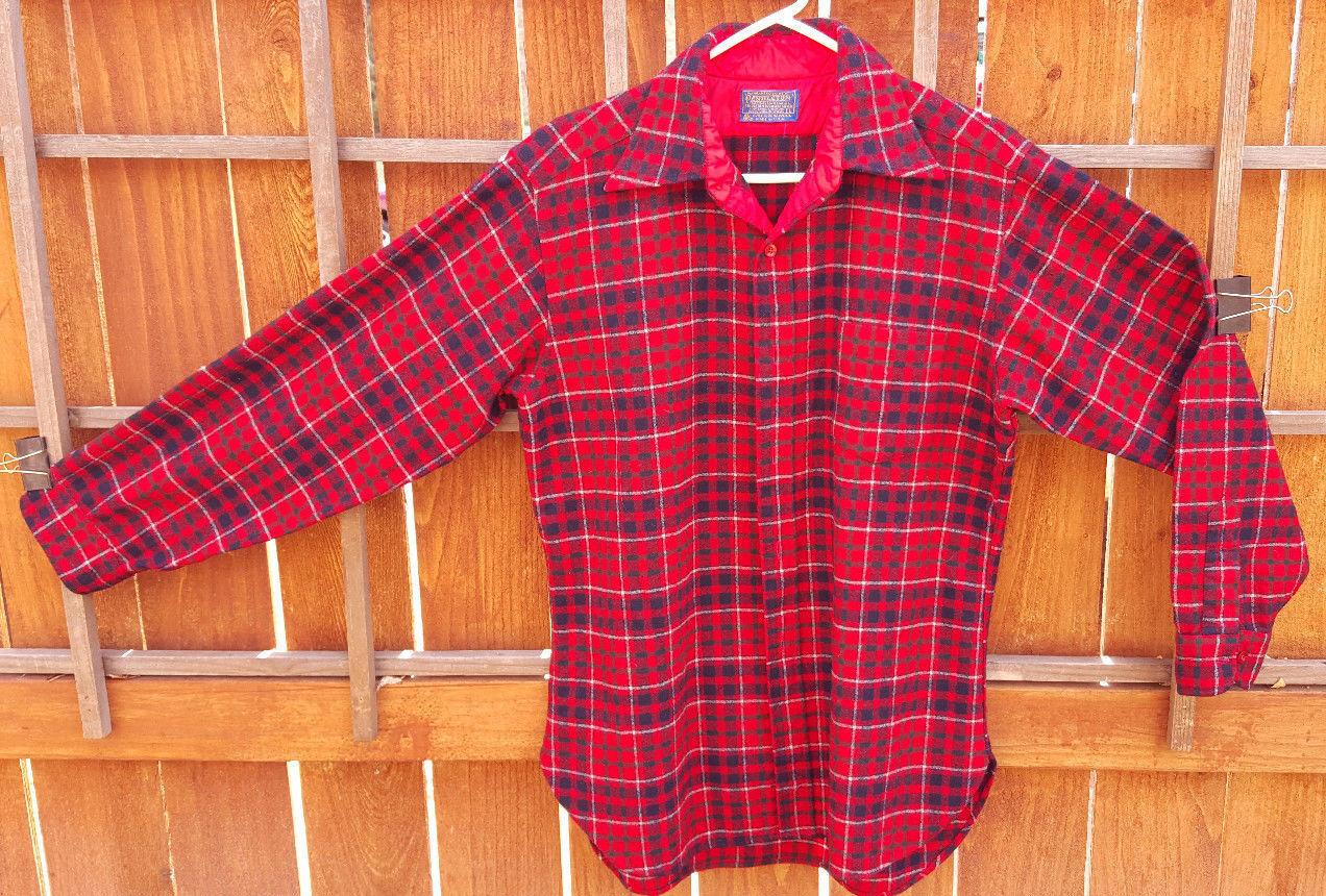 Vtg Pendleton Wool Plaid Shirt-L-Pure Virgin Wool-Red-Lined Collar-Lodge Shirt