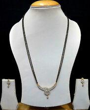 Bridal Party Wear Jewellery Diamond Mangalsutra Earring Black Beads Chain SSC148