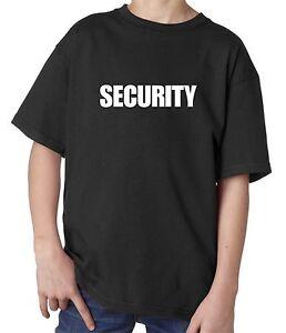 100% Cotton Black Kids children Security T-Shirt for party fancy dress Funny
