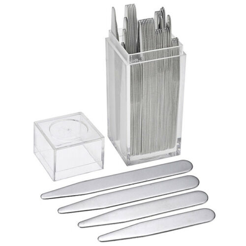 40pc Men Silver Metal Collar Stays Shirt Collar Inserts With Plastic Box Gift