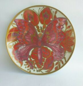 Pottery-Barn-Red-Pink-Gold-Butterfly-Porcelain-Plate-8-25-034