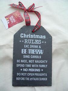SLATE-HANGING-SIGN-PLAQUE-CHRISTMAS-BNWT