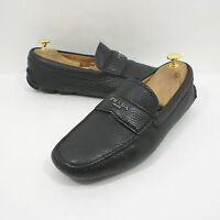 Prada Milano Black  Leather Pebble Grain Driving Shoe Size 7 US $620