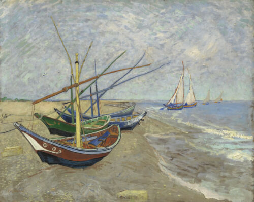 Fishing Boats on the Beach at Saintes-Maries Van Gogh Painting Canvas Print 8x10
