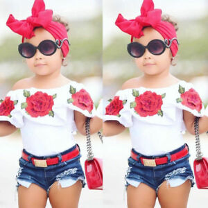 2Pcs Cute Toddler Baby Kids Girls Flower Tops Denim Shorts Pants ... 6df5458ee6