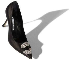 efe6b540570  995 NEW Manolo Blahnik MAIDUPUMP MAIDU Satin Black Jeweled Pumps BB ...