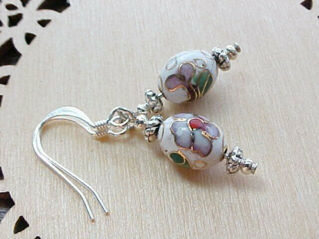 Mini Easter Egg Earrings Cloisonne Pink Cherry Blossoms Faux Faberge Basket Gift