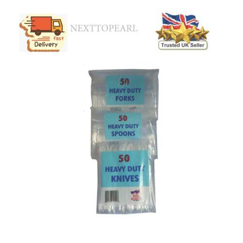 2 X 150 cucharas de plástico transparente resistente-Cuchillos-Tenedores Cubiertos Fiesta Desechable