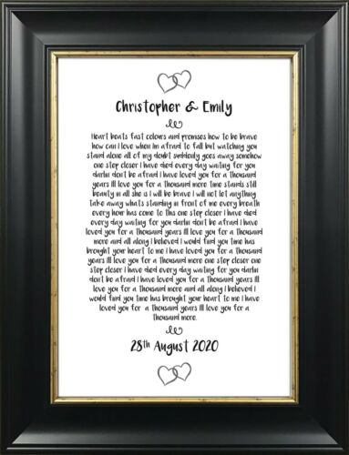 Personalised Song Lyrics A4 Print Dance Wedding Song Paper Anniversary Gift