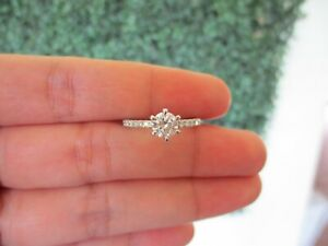 GIA-Certified .66 Carat Diamond w/.24 CTW Diamond Engagement Ring PLATINUM ER596