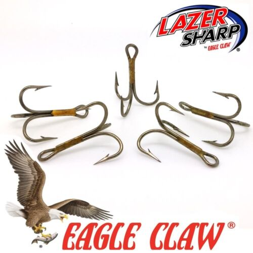 Treble Hooks Eagle Claw 974 Sizes 2-10  Bronze Pike Spinners Lures Flying Cs