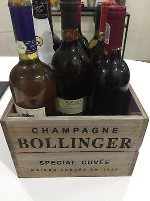 Contemplativo Stile Vintage In Legno Bollinger Champagne Cassa Di Vino Scatola Di Immagazzinaggio Shabby Chic- Acquisto Speciale