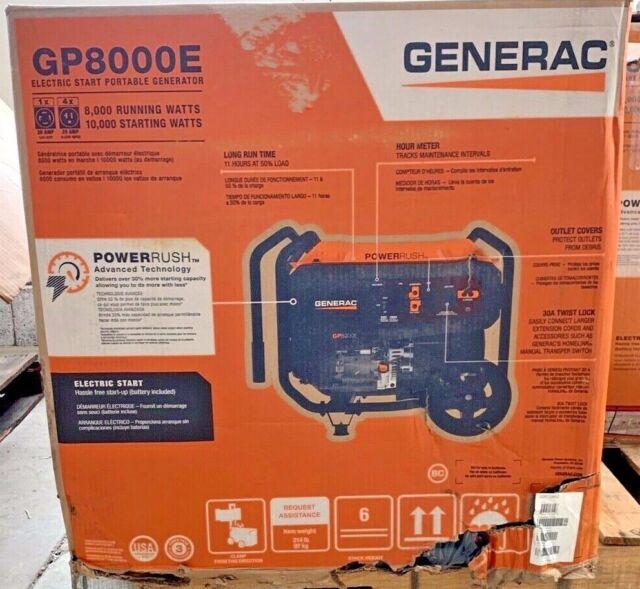 Generac GP8000E 8000 Watt w/ Electric Start - Gas Powered Portable Generator