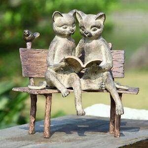 Reading cats on bench metal statue cat pair kitten bird for Cat yard art