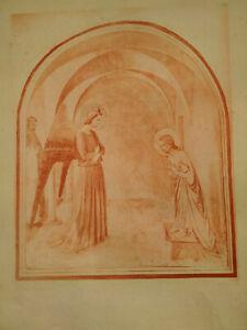 Rare grande gravure art catholique Paris Annonciation Fra Angelico estampe