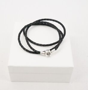 Authentic-PANDORA-Black-Braided-Triple-Leather-Braided-Bracelet-590705CBK-T