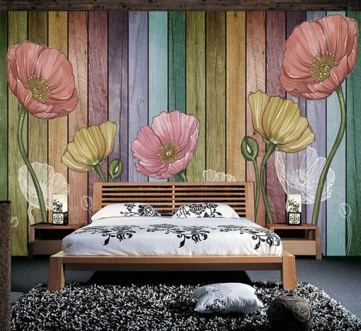 3D Legno, fiori 2 Parete Parete Parete Murale Carta da parati immagine sfondo muro stampa f711c2