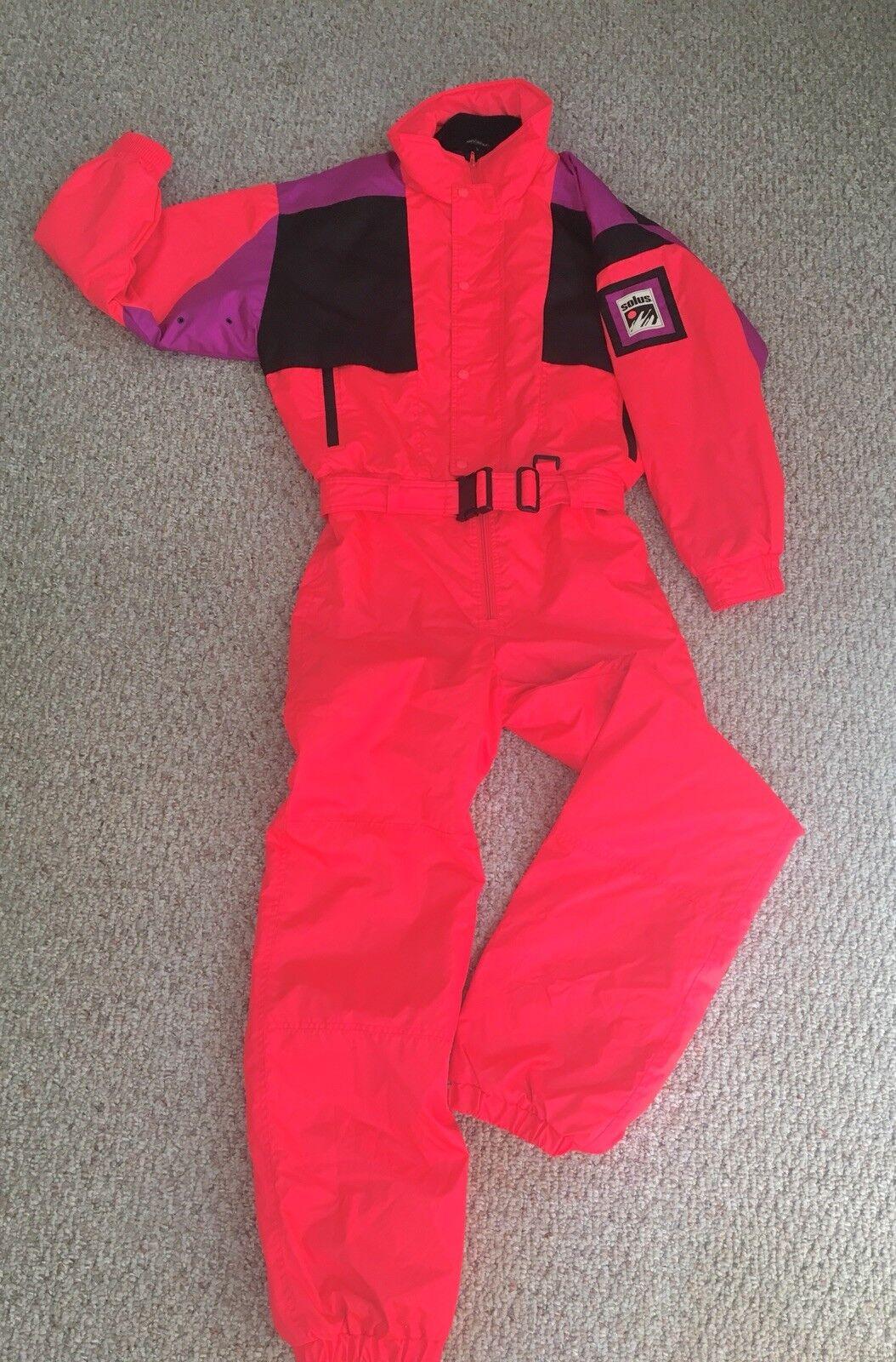 VTG SOLUS Snowsuit 1 Piece Neon orange Mens S Ski Snowboard Womens Unisex