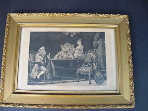 Antique-Victorian-Wood-amp-Gesso-Gold-Gilt-Picture-Frame-19-034-x26-034-With-Print