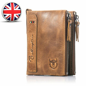 Men-039-s-Leather-Short-Wallet-Money-Credit-Card-Holder-Purse-RFID-Blocking-Zipper