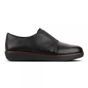 FitFlop-LACELESS-DERBY-Ladies-Womens-Real-Supple-Leather-Slip-On-Shoes-Black