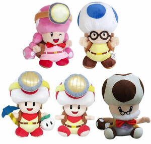 8/'/' Super Mario Bros Toad Toadsworth Blue with bag Plush Doll Soft Toy Kid Gift