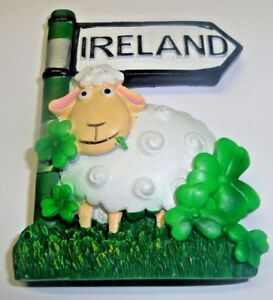 Irish Figurine of a Sheep with a Shamrock and an Ireland Signpost