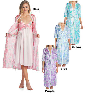 Casual Nights Women s Satin 2 Piece Robe and Nightgown Set  c4444ab15b