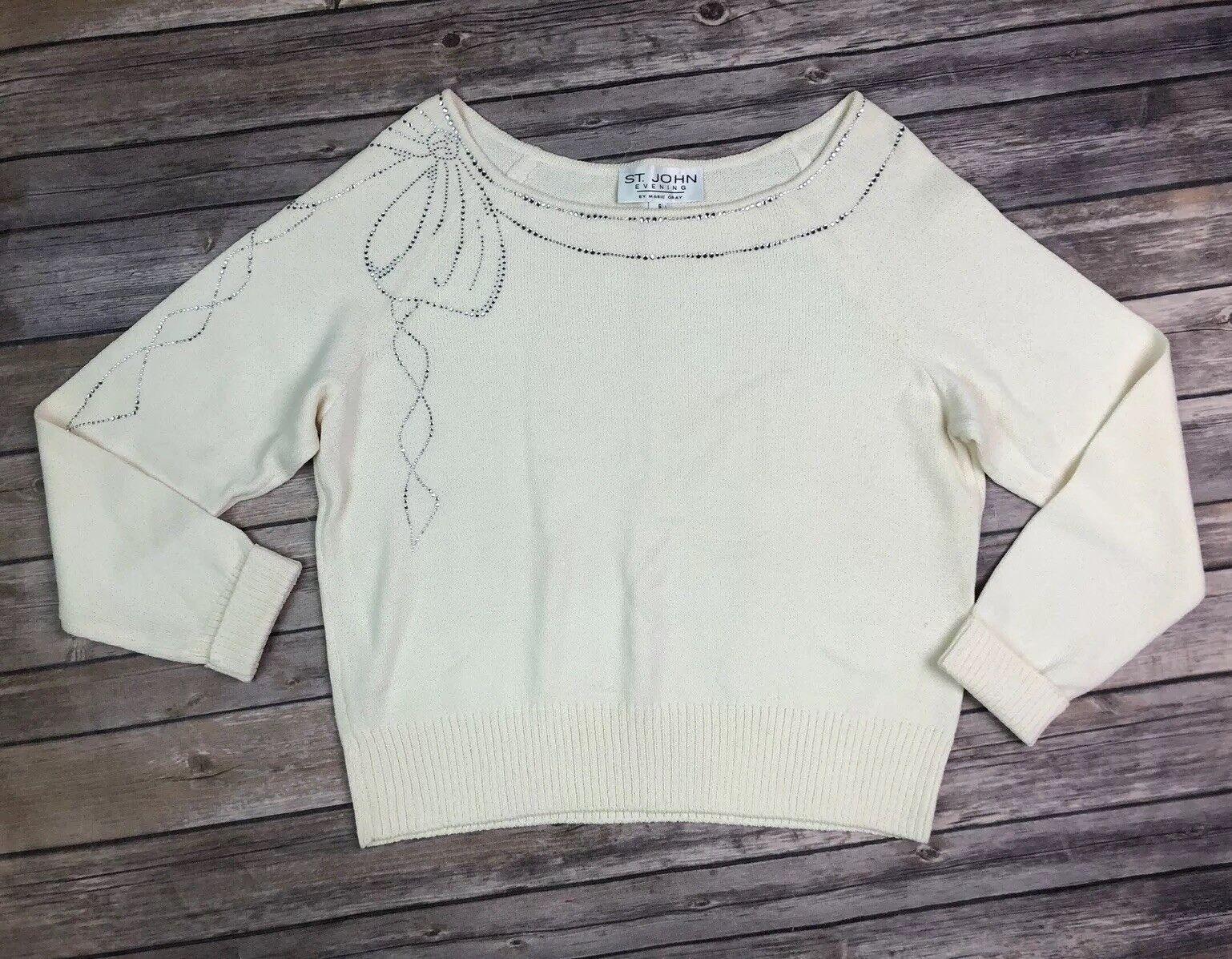 St. John Evening 6 Cream Rhinestone Studded Bow Santanna Knit Sweater Top