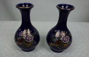 Kutani Japan Cobalt Blue Small Vases Enameled Floral Wagon Design Gold Trim