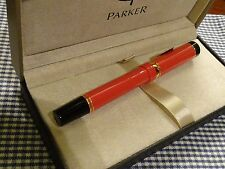 PARKER DUOFOLD ORANGE CENTENNIAL FOUNTAIN PEN MED POINT NIB