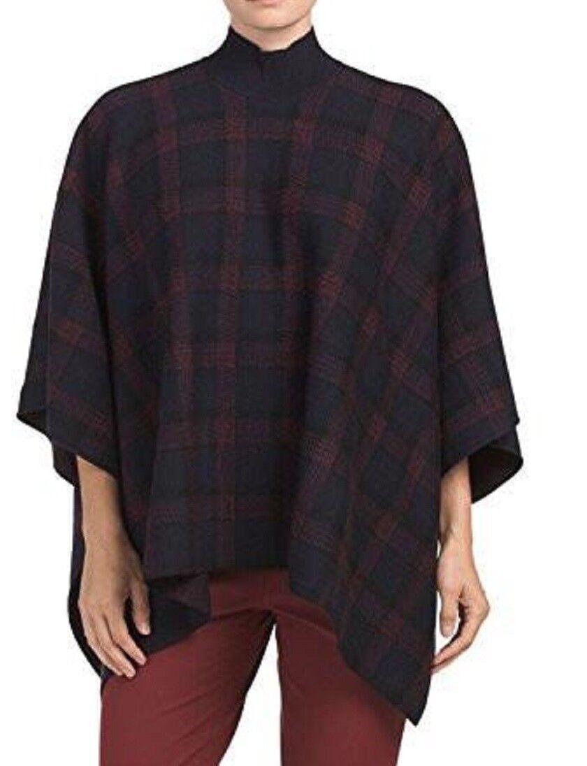 NWT  Theory Florencia Navy Plaid Wool Cape Poncho Size XS S