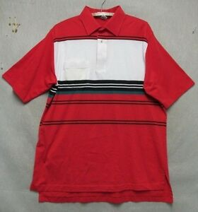 W4332-Large-Men-039-s-Zod-Club-Red-Striped-Polo-Shirt