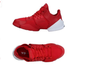 Y-3 Yohji Yamamoto KANJA Women's L Flat Soft Sneakers Red Stretch Fibers Leather