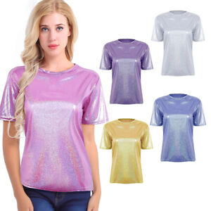 Women-Comfy-Metallic-Shiny-Casual-T-Shirt-Lady-Summer-Loose-Tops-Blouse-Pullover