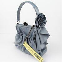 Kate Landry August Evening Bag Satin Silver Formal Prom Wedding Designer Dressy