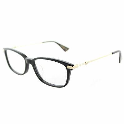 Gucci Asian Fit GG0112OA 001 Black Gold Plastic Rectangle Eyeglasses 53mm