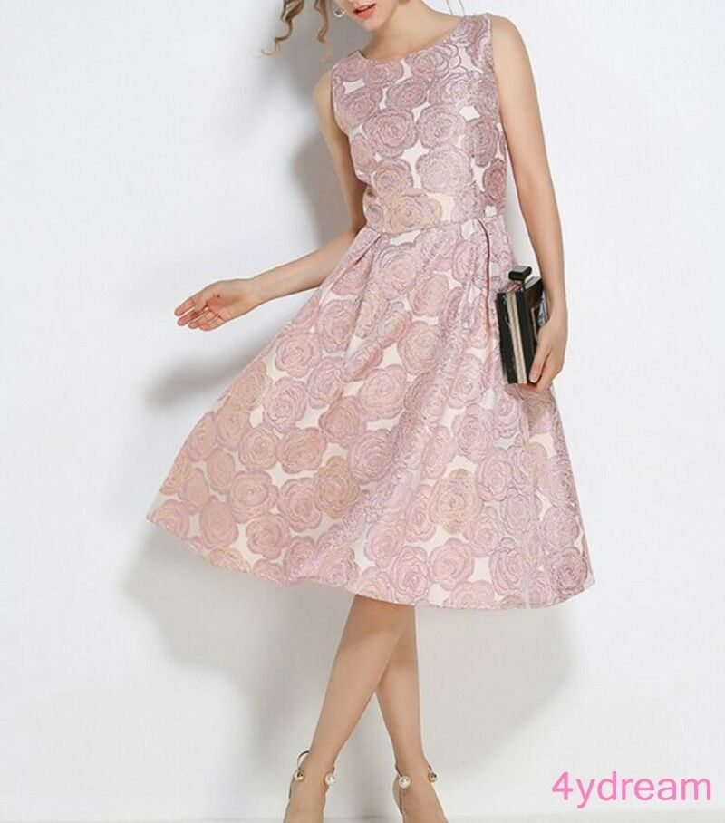 Occident Runway Stylish Floral Printing Party Women Mid Long Dress Sleeveless
