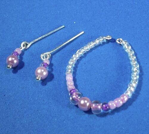 Barbie Dreamz LILAC PINK PURPLE Bead Necklace Set Doll Jewelry