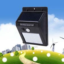 20 LED Solar Powered PIR Motion Sensor Wall Light Outdoor Waterproof Garden Lamp