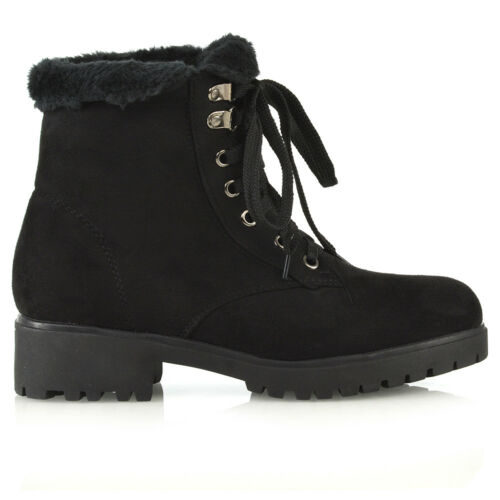 Womens Lace Up Ankle Boots Ladies Fur Lined Collar Military Combat Biker Shoes