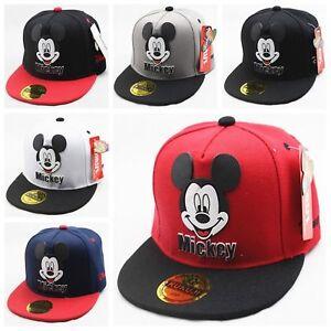Kid-Boy-Girl-Mickey-Mouse-Baseball-Cap-Adjustable-Outdoor-Sport-Snapback-Hats-UK