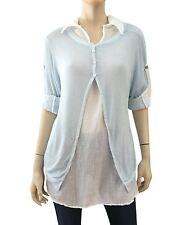 BACI Top Sweater Set White Cotton Blouse Tunic, Asymmetric Blue Knit Sweater  L