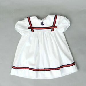 Vintage-70s-White-Red-Navy-Nautical-Children-039-s-Sailor-Anchor-Puff-Sleeve-Dress