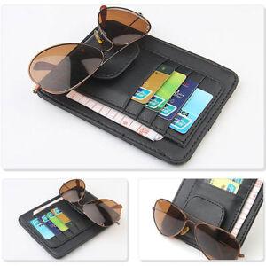 Tasca-porta-documenti-carte-credito-clip-occhiali-PELLE-aletta-parasole-auto-car