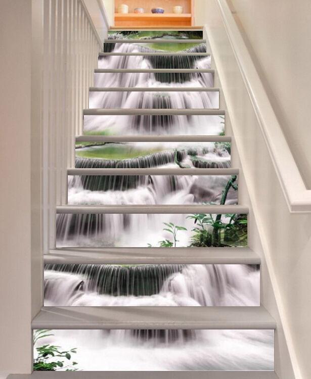 3D Grün waterfall2 Stair Risers Decoration Photo Mural Vinyl Decal Wallpaper UK