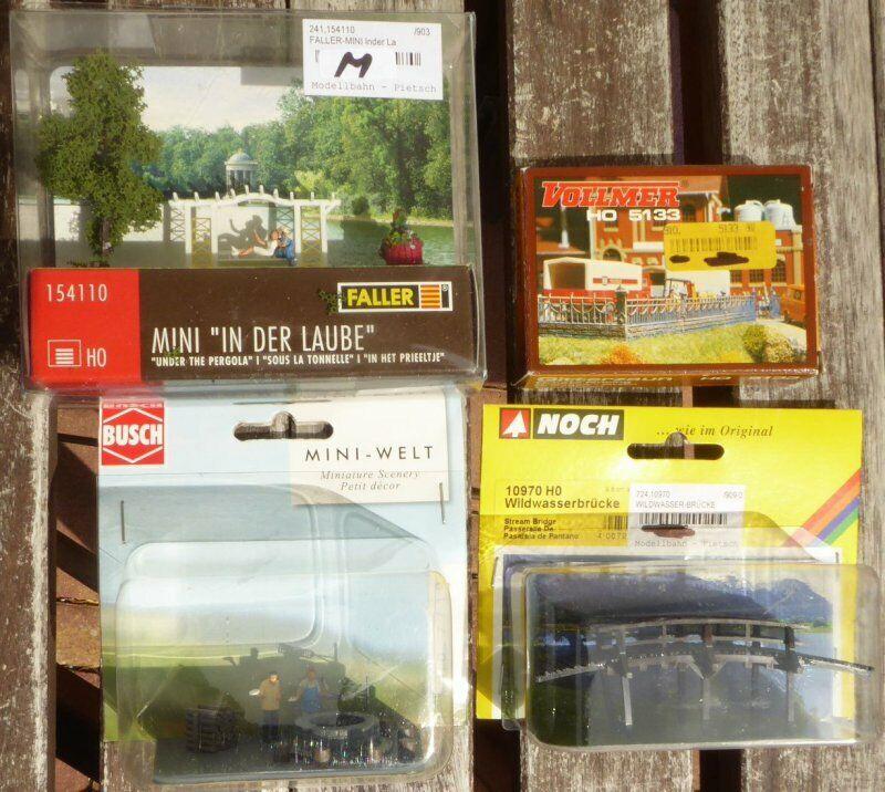 Noch faller Busch h0 konvolut 3x dioramas, 1x Construction Barbecue bridge fence