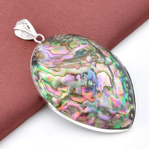 Wholesale 3 Pcs 1 Set Huge Genuine Abalone Shell Gems Silver Necklace Pendants