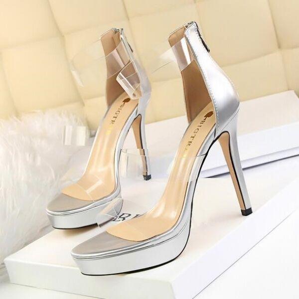 FrauenSandale 11 elegant Stilett Silber transparent Plateau simil Leder CW616