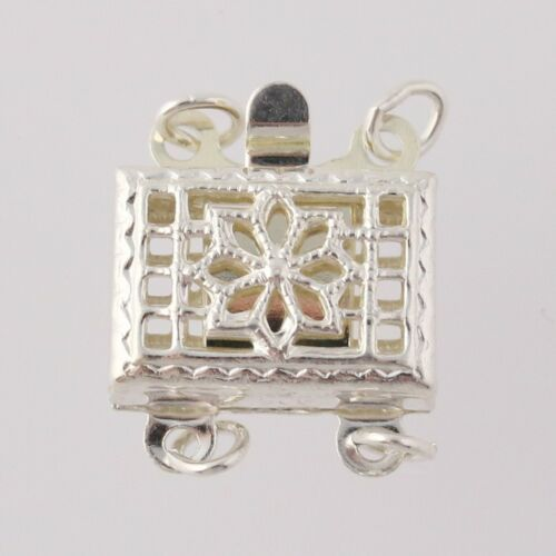 Sterling Silver Floral Filigree Findings 925 2 Piece Plunger Pearl Clasp Clasp